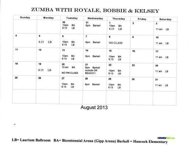 August 2013 ~ Zumba Calendar
